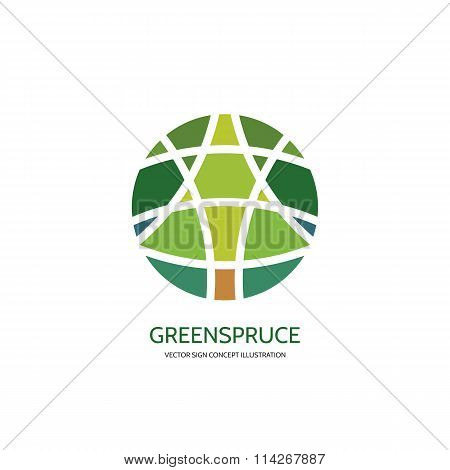 Abstract tree vector logo concept illustration. Abstract spruce in circle - logo sign illustration.