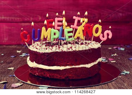 a cake topped with some lit letter-shaped candles forming the text feliz cumpleanos, happy birthday in Spanish, before blowing out the cake, on a rustic wooden table
