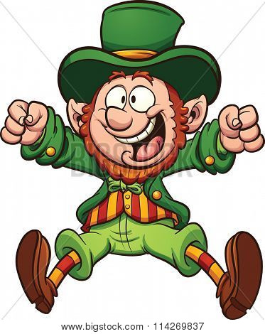 Happy cartoon leprechaun. Vector clip art illustration with simple gradients. All in a single layer.