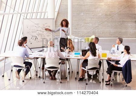 African American Businesswoman Leads Boardroom Meeting