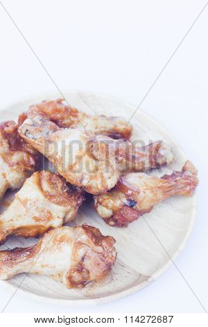 Grilled Chicken Wings Isolated On White Background