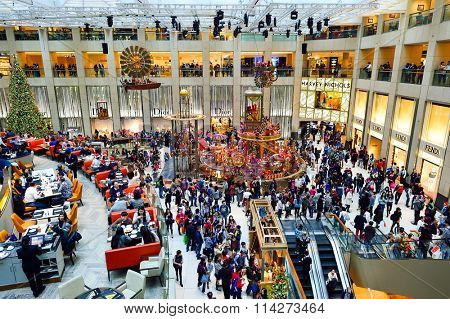 HONG KONG - DECEMBER 25, 2015: interior of the Landmark shopping mall. The Landmark, also known as