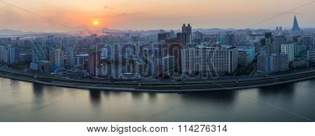 Panoramic morning view of Pyongyang city and Tucheto River