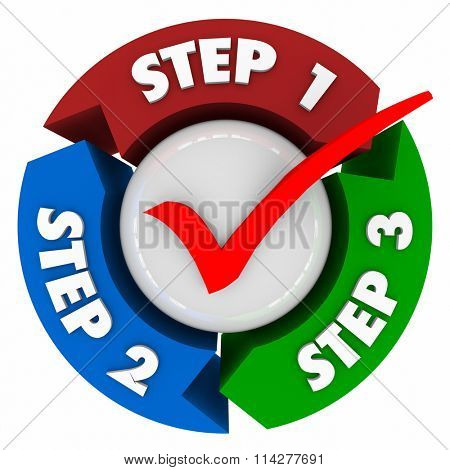 Three steps words and numbers on arrows in a circle to illustrate a process, system, directions or instructions