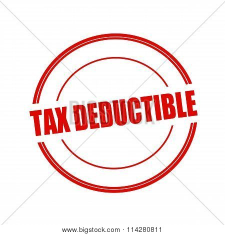 Tax Deductible Red Stamp Text On Circle On White Background