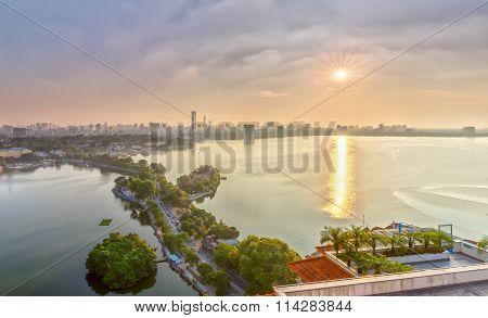 Sun star sunset west lake in Hanoi, Vietnam