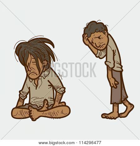 Hand drawn Vector Illustration of Poor man poster