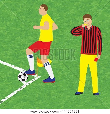Football Player And Referee. Soccer.