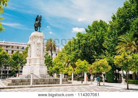 Monument to King Saint Ferdinand at New Square Plaza Seville, Spain