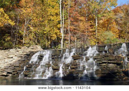 devil's den national park waterfall arkansas - autumn poster