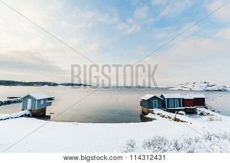 Small Beach Covered in Snow