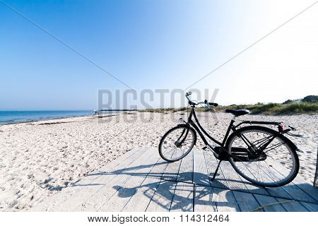 Bicycle on Marienlyst Beach in Helsingor, Denmark