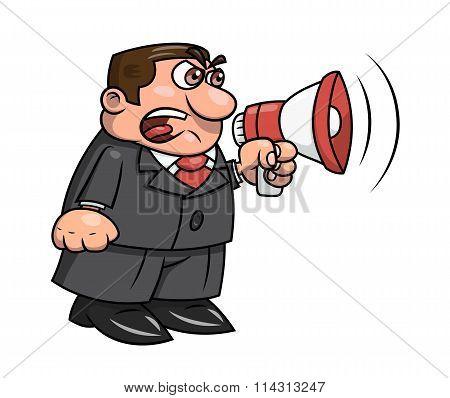 Boss yelling into megaphone 2