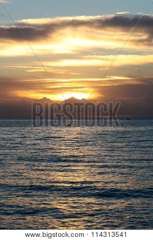 Beautiful sunset on water