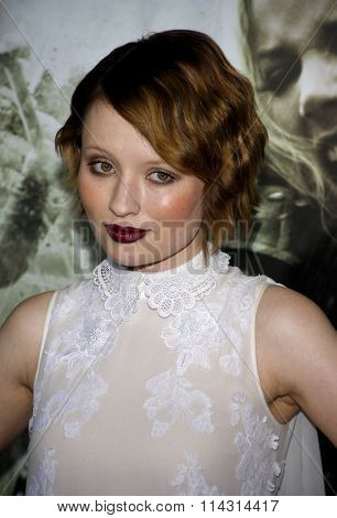 HOLLYWOOD, CALIFORNIA - March 23, 2011. Emily Browning at the Los Angeles premiere of
