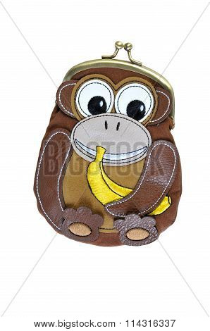 Adorable Animal Wallet Coin Purse Isolated On White Background. Purse In The Shape Of A Monkey