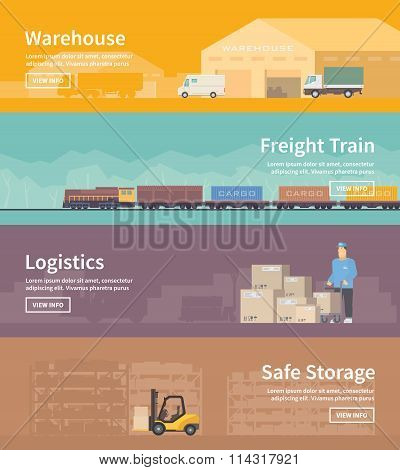 Flat vector web banner. Logistics. part 2