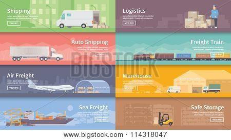 Flat vector web banner. Logistics.