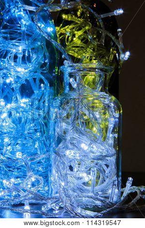 Light bulb in the bottle. Led light bulb glow
