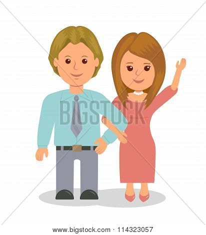 Young married couple standing in embrace. Girl waved her hand affably. Vector people isolated on a w
