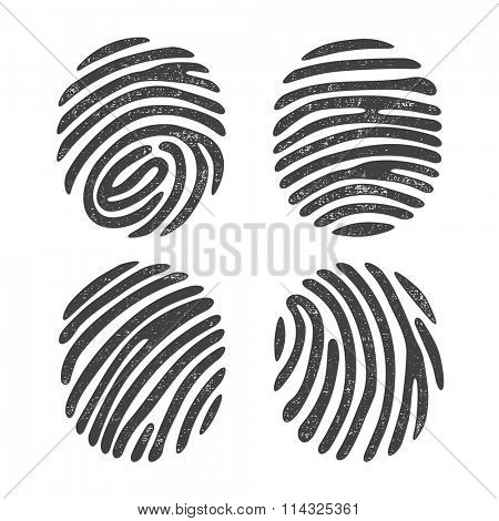 Black grunge finger print set isolated on white background. Elements of identification systems, security conception, apps icons. Vector illustration.