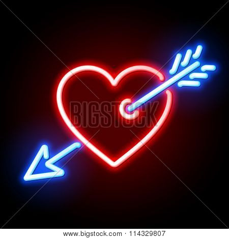 Red heart pierced by Cupids arrow neon sign. Vector.