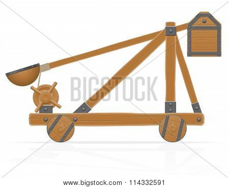 Old Wooden Catapult Vector Illustration