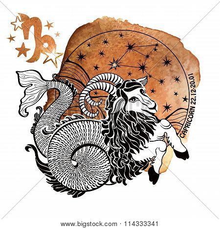 Zodiac sign Capricorn.Horoscope circle.Watercolor splash