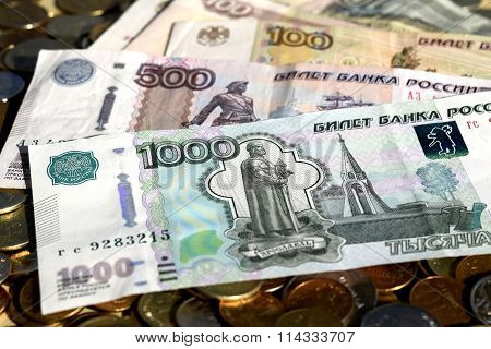 Russian money  of different denominations
