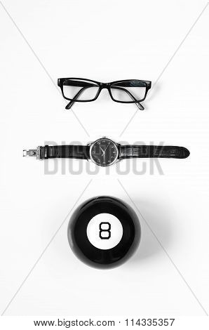 Black And White Minimalistic Composition: Glasses, Watches And Magic Ball 8.