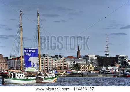 Sailing Ship Beluga Ii (greenpeace) On Elbe River, Hamburg, Germ