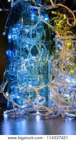 Light bulb in the bottle. Led light bulb glow, Bulbs in the bottle. Led light bulb glow, decor