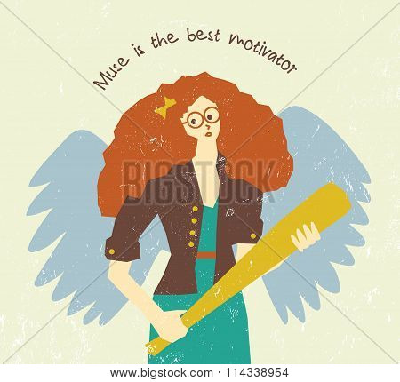 Muse motivation art work pretty woman with wings.