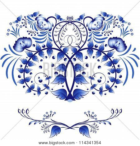 Elements Of Style Gzhel For Design Invitation Or Card. The Pattern Of Blue Flowers And Leaves Isolat