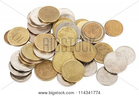 Gold coins on white