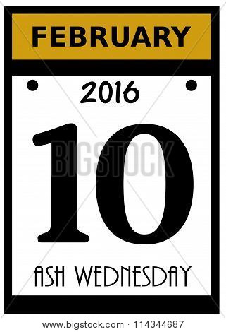 2016 ash wednesday date