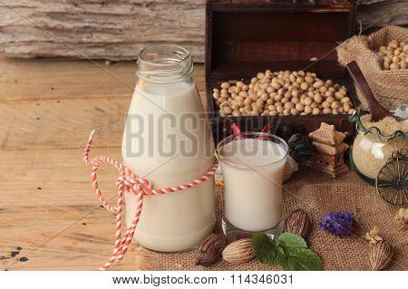 Soy Milk With Soybean Seed.
