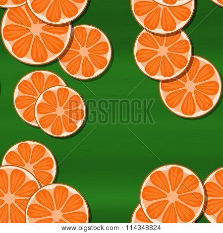 Decorative orange green seamless pattern with cartoon stylized tangerine or pomelo citrus motive
