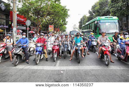 HO CHI MINH CITY, VIETNAM - December 18, 2015 : Road traffic in the center of Ho Chi Minh City (Saigon)