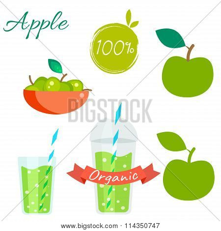 Green apple fruit and juice vector set.