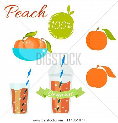Peach fruit and juice vector set.