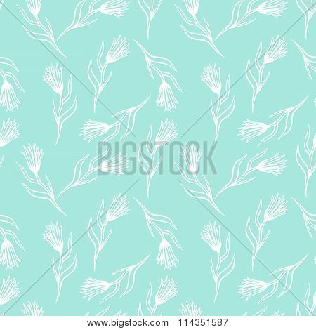 Cornflower vector seamless pattern.