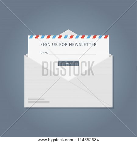 Template subscription to the newsletter. Flat banner newsletter. The design of of the registration form to the newsletter. Vector form of an email mailing site. poster