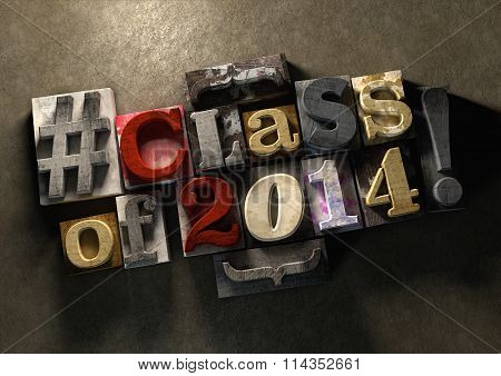 Class Reunion 2014 Title In Grungy Wood Block Print Lettering On Concrete Background.