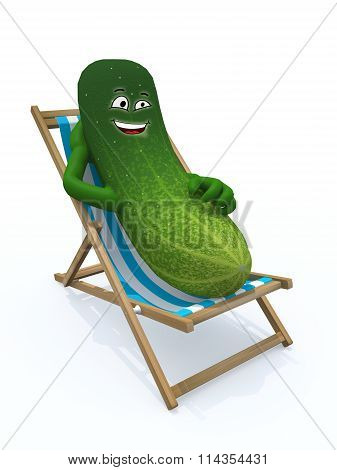 Cucumber Resting On A Beach Chair
