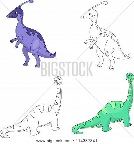Funny Cute Diplodocus And Parasaurolophus. Educational Game For Kids. Coloring Book