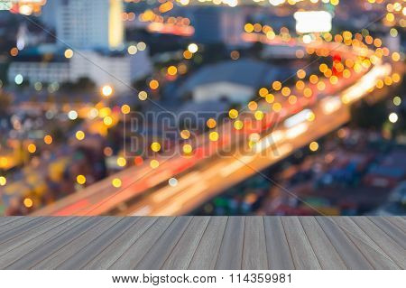 Bokeh lights city road curved night view