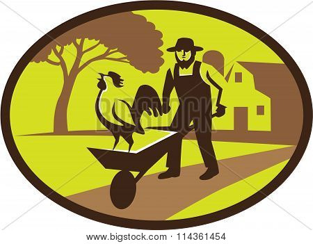 Amish Farmer Rooster Wheelbarrow Farm Oval Retro