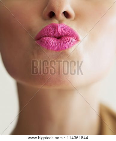 Woman With Bright Lipstick