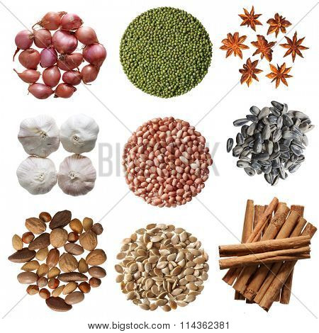 Set of seasoning vegetable isolated on white background